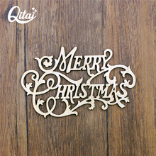 QITAI 12Pcs/Lot Merry Christmas Wooden Decoration Wood Crafts Table/Door Decorations Wholesale Holiday supplies wf272