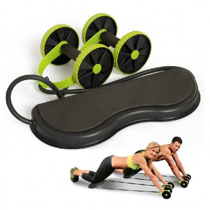 Abdominal and Full Body Workout Double-Wheeled Power Roll Ab Trainer Multi-functional Arm Waist Leg Exercise Fitness Equipment image