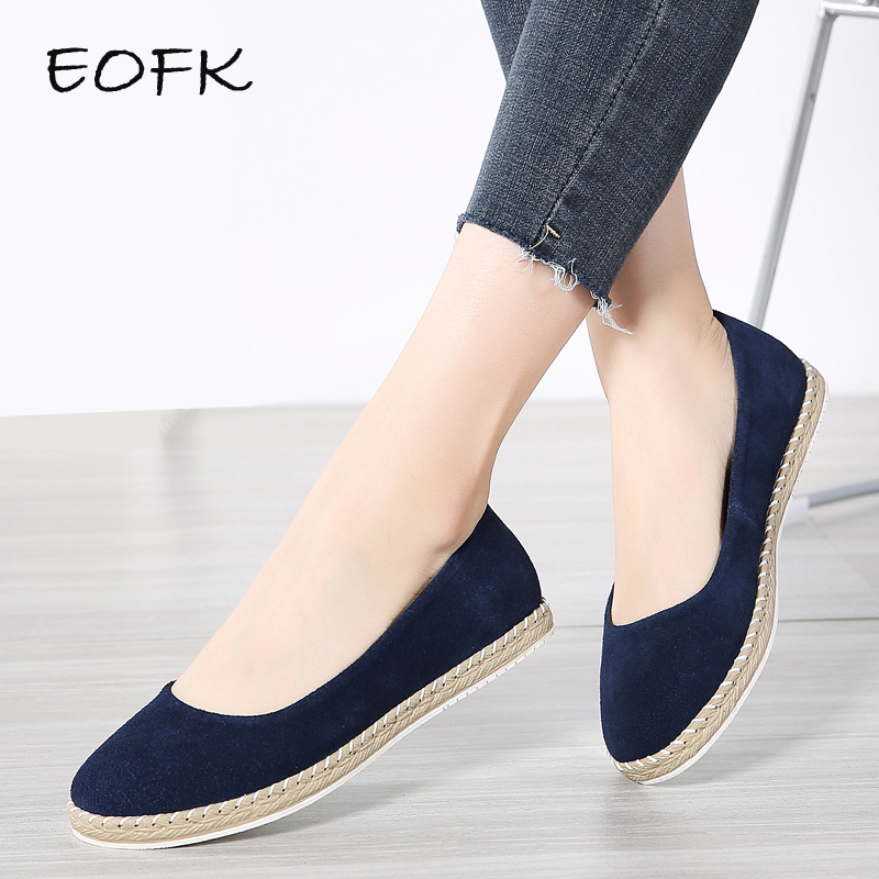 EOFK Ballet Flats Women   Leather   Shoes Woman Spring Autumn Handmade Sewing Women's Casual Loafers Slip On Moccasins zapatos mujer