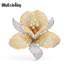 Wuli&baby Luxury Czech Rhinestone Flower Brooches Women Weddings Banquet Brooch Pins Gifts