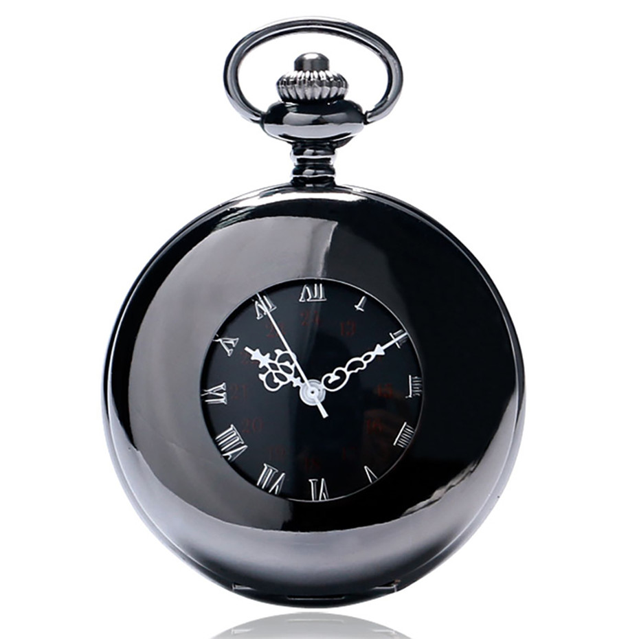 Polishing Black Hollow Circle Roman Numerals Display Mechanical Pocket Watch Hand Winding Pendant Clock With Retro Pocket Chain