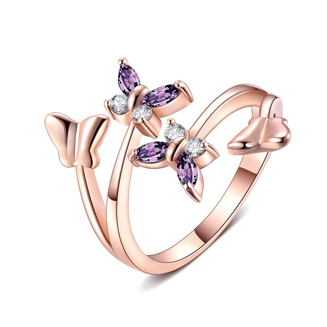 fabd85be5 Adjustable Rose Gold Butterfly Ring For Women Love Jewelry Girls Party  Wedding Trendy Fashion Crystal Rings Jewelry
