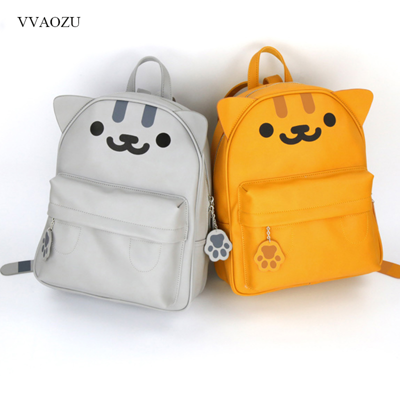 Harajuku Anime Neko Atsume PU Backpack Girls Cute Cat With Ears and Tail Shoulder Bag Kawaii Cat Backyard School Backpacks kitty cat backyard neko atsume backpack comic periphery dual portable canvas shoulders bag cartoon accessory kids anime gift