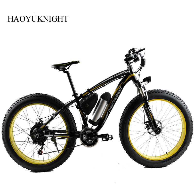 HAOYU KNIGHT Electric Bike Powerful Fat Tire Electric Mountain Bike 48V 10AH 500W Beach Cruiser 21 Speed Electric Snow Bicycle 26 inch 7 21 27speed cross country mountain bike aluminum frame snow beach 4 0 oversized bicycle tire dirt bikes for men
