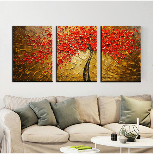 Acrylic Decorative High Quality 3 Piece Canvas Wall Art Tree Abstract Knife  Oil Painting On Canvas
