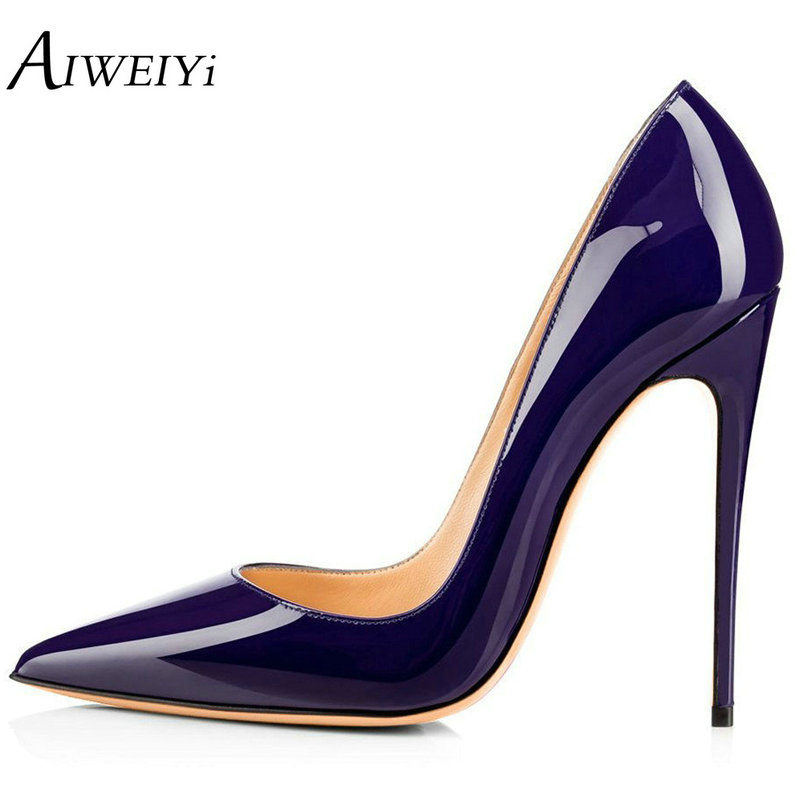 AIWEIYi Shoes Women Pointed Toe Stiletto High Heels Pumps Patent Leather Ladies High Heels Shoes Dress Party Platform Pump Shoes aiweiyi 2018 summer women shoes pointed toe stiletto high heel pumps dress shoes high heels gold transparent pvc shoes woman