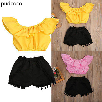 2pcs Baby Kids Girl Ruffle Off Shoulder Tank Tops+Tassles Shorts Outfit Clothes Set Yellow Pink Summer Clothing 2-8Y summer casual denim newborn toddler baby girl clothing kids off shoulder crop tops shorts outfit clothes set