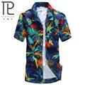 Casual Shirts 2015 Men slim Clothing Polyester Short Sleeve Shirt Summer beach floral mens Fashion shirt  L-4XL ST18