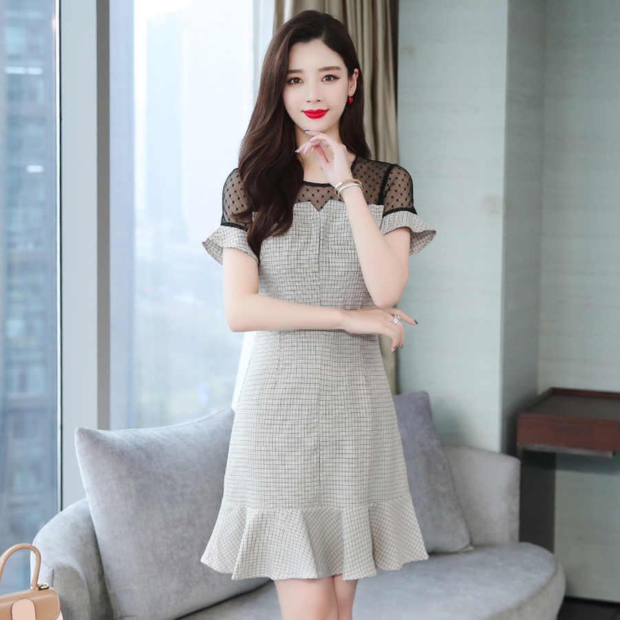 2019 корейские винтажные Большие размеры однотонные шикарные сексуальные сарафаны летние клетчатые кружевные пляжные Мини платья женское обтягивающее элегантное на выход Vestidos
