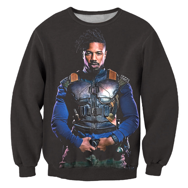 HEY AUNTIE Black Pullovers Men 3D Cool Print Erik Killmonger Black Panther Sweatshirt Hoodie Homme Punk Style Casual Sweats
