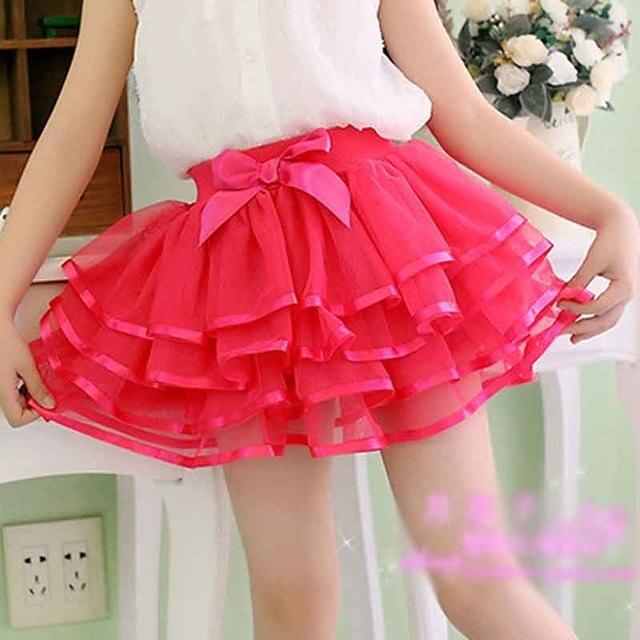 051f586345 Dziewczyny Słodkie Spódnice Piękne Krótkie Spódniczki Dla Dziewczynek  Plisowane Koronki Taniec Ball Suknie Z Kokardą Różowy