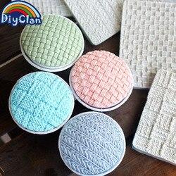 Estilos de tricô 14 Fondant moldes de silicone malha impressão pad textura molde decoração do bolo molde ferramentas de cozimento da cozinha F0815D