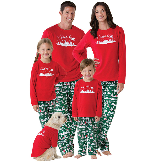 Matching Christmas Family Pajamas New Year Family Look Mother Father Baby  Pyjama Set Sleepwear Pjs Xmas Sled Adult Kids Clothes 8d8ee3d1e