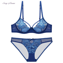 Sexy mousse new peacock feather pattern transparent bra push up set black blue white sexy lingerie temptation underwear