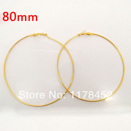20 Pcs Gold Basketball Wives Earring Hoops Dangle Drop 80mm Dia. For Jewelry Making DIY Accessories