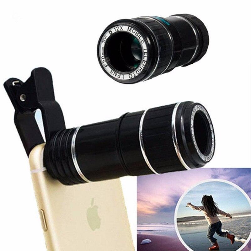HD Obiettivo Del Telefono per Il Iphone 7 7 plus Samsung S8 S7 Huawei 12X Zoom Ottico Teleobiettivo Telescopio Del Telefono Mobile Della Macchina Fotografica lente V06