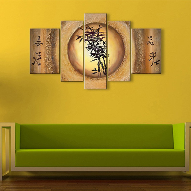 Large Handmade Paintings 5 Piece Canvas Pictures Home Decor Wall Art ...