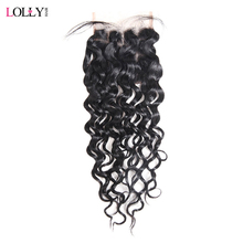 Lolly Brazilian Water Wave Closure Middle Part With Baby Hair 4*4 Non Remy Human Hair Swiss Lace Closure Bleached Knots 8-20inch