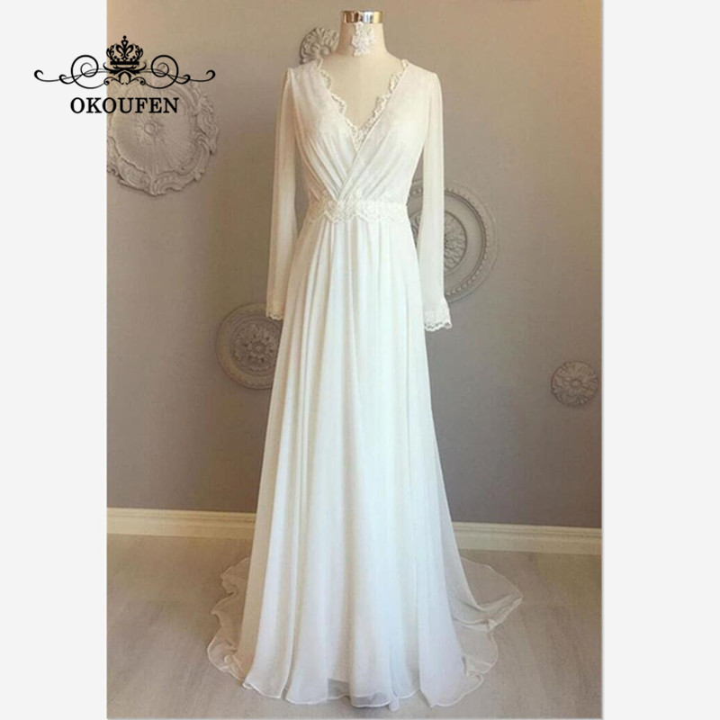 Flowing Chiffon Bohemia Beach Wedding Dress With Long Sleeves 2019 Backless Deep V Neck A Line Bridal Dresses Formal For Women