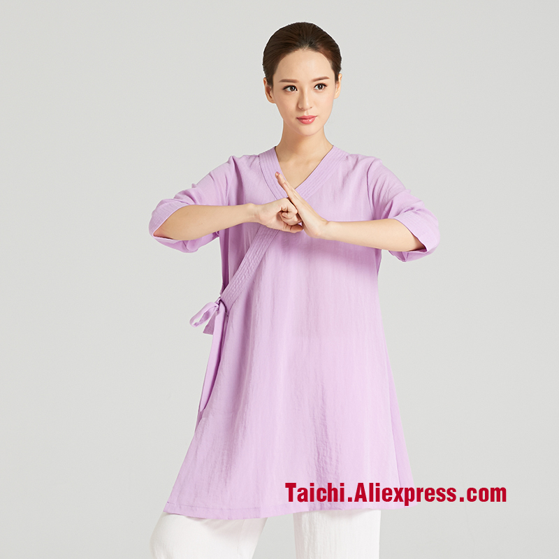martial art Tai chi  Taiji  women Taoist robe Chinese clothing linen oblique collar  martial arts clothing Tai Chi skirt cotton linen men s yoga suits long sleeved taiji lay clothes plus size breathable meditation martial arts performance clothing