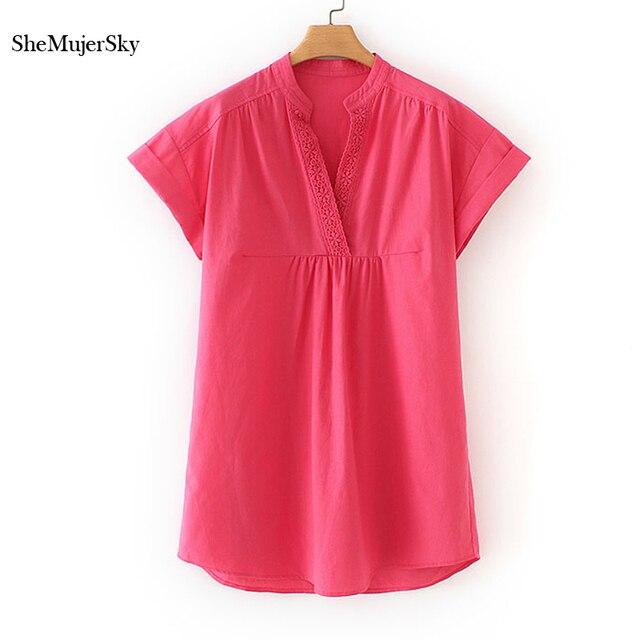 SheMujerSky Com Decote Em V Mini Rose Red Mulheres Vestido de Verão Vestidos Soltos vestidos de verano mujeres 2019