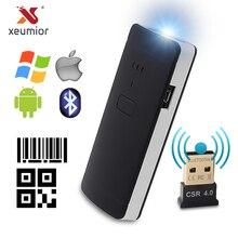 Xeumior 휴대용 포켓 무선 2d 스캐너 qr 코드 리더 블루투스 2d 바코드 스캐너 안드로이드 ios 스캐너 barcod 핸드 헬드