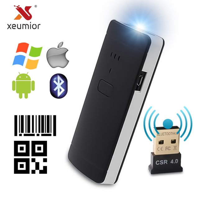 Xeumior Pocket אלחוטי נייד Bluetooth 2D 2D סורק קוד QR קורא ברקוד סורק עבור אנדרואיד IOS סורק Barcod כף יד