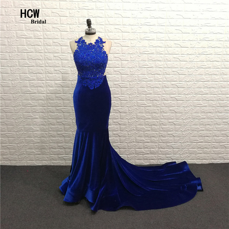 Velvet Royal Blue Long   Prom     Dress   2019 Sheer Back Beaded Lace Mermaid   Prom   Gown Robe De Soiree Arabic Women Wedding Party   Dress
