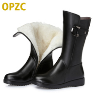 2016 Winter Genuine Leather Women Snow Boots With Flat Female Wool Warm Female Motorcycle Boots Large