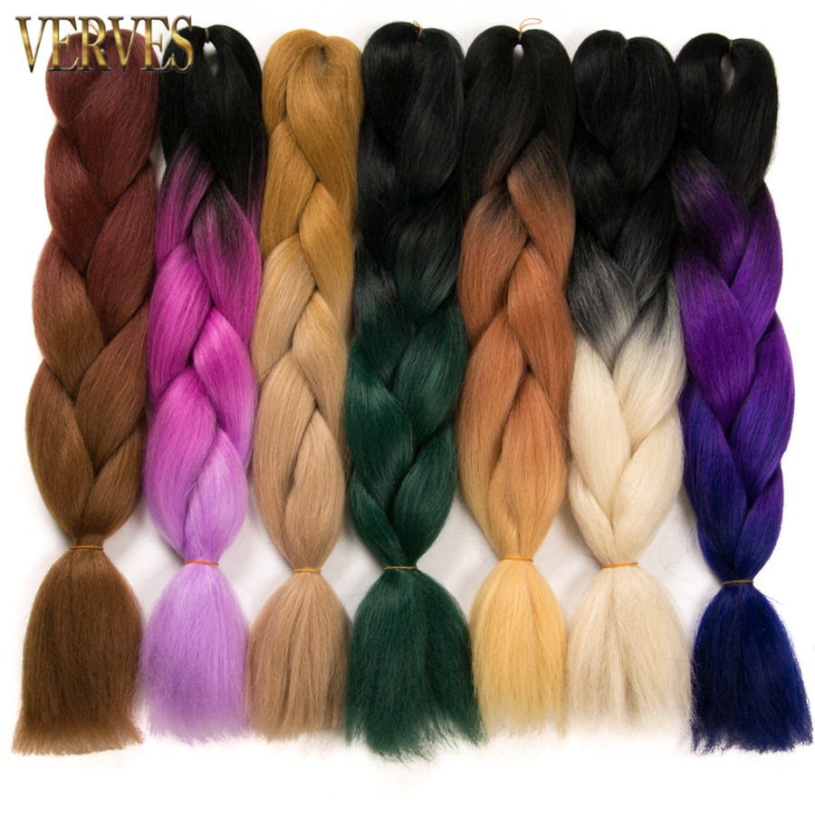 10 pcs/lot Ombre Braiding Hair braid Synthetic VERVES Two Tone High Temperature Fiber Braid Hair Extensions