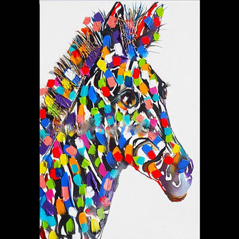 Handmade thick knife high quality Modern Abstract Fine Artwork Canvas Abstract animal horse Bedroom artwork Wall Oil Painting