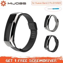 Mijobs металлический ремешок для huawei Группа 2 pro B29 B19 Смарт-часы huawei группа 2 про ремень браслет ремешок для huawei браслет