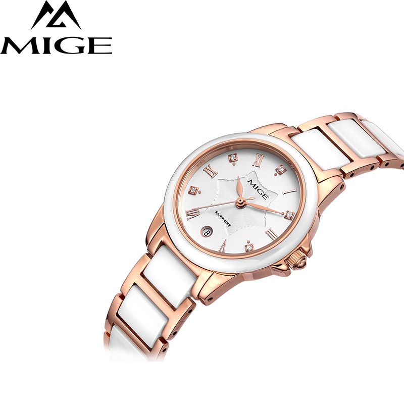 Lover's Watches Lower Price with Mige Fashion Luxury Men Women Watch Quartz Calendar Synthetic Sapphire Glass Rhinestone Waterproof Cowhide Leather Strap Relogio