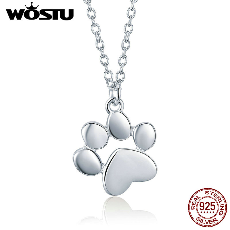 WOSTU High Quality 925 Sterling Silver Cute Dog Footprints Link Pendant Necklace For Women Girlfriend Lovely Jewelry Gift CQN275 cute dog heart pendant necklace for women