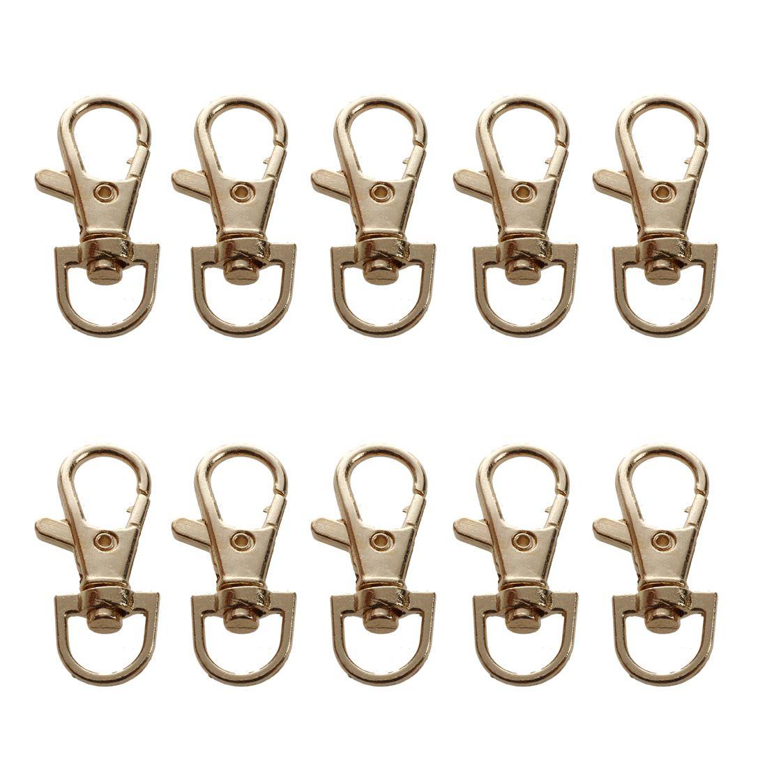 Top Quality Gold Tone Metallic Handbag Strap Decor Snap Hook Lobster Clasp 10 Pcs