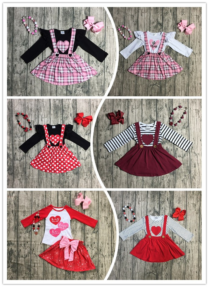 ddacb94cb517 6 designs Fall/winter baby girls Valentine's day clothes children top with suspender  skirts 2 pieces sets with accessories