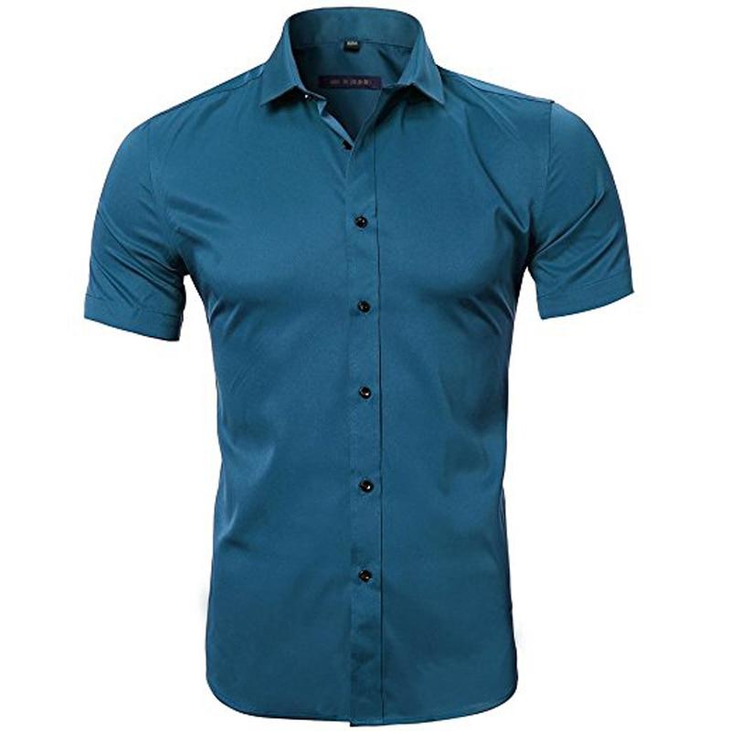 d2b87d3abd Camisas de vestir de fibra de bambú para hombre ajustadas de manga ...