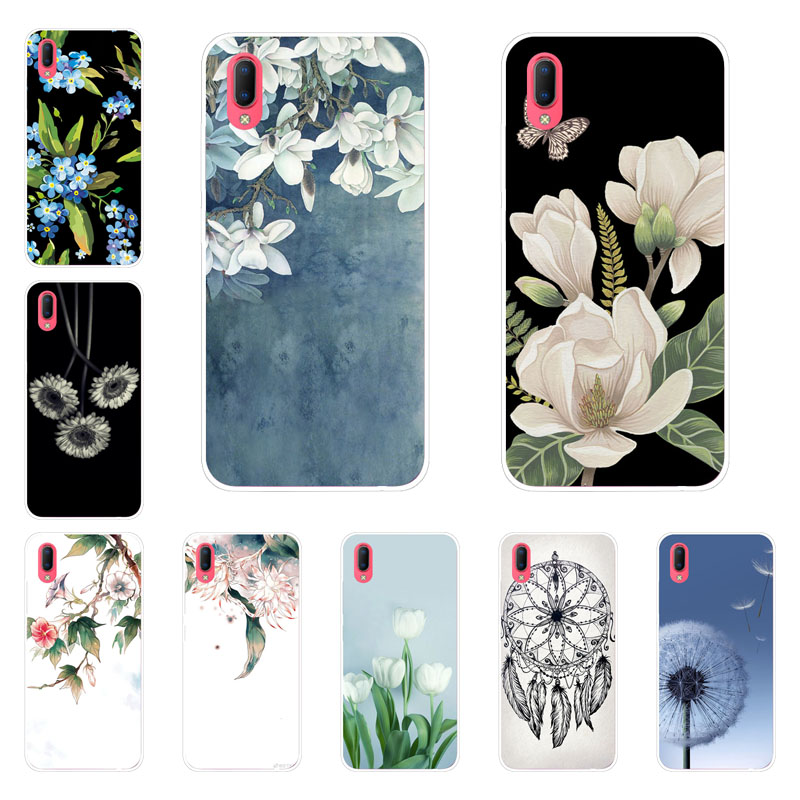 Vivo Y93 Y9S Case,Silicon White Floral Painting Soft TPU Back Cover for Vivo Y93 Y9S Phone protect Bags shell