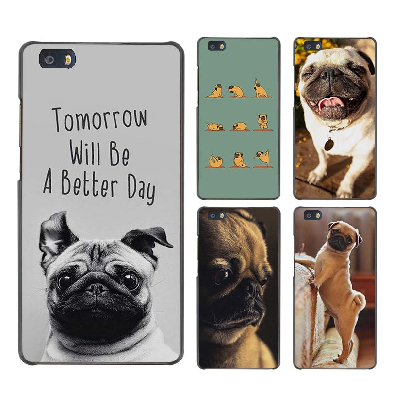 Funny Pug Doing Yoga Case Black Cover Scrub Shell for Huawei P8 P9 P10 Lite Plus P7 Mate S 7 8 9 ...
