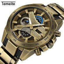 Мужские кварцевые часы TEMEITE бренд для мужчин S наручные часы Роскошные античная медь цвет нержавеющая сталь водонепроница…