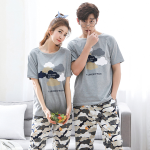 Image 4 - Pijama de verão masculino, manga curta 100% algodão, casual, impressão de casal, conjunto, roupa de dormir, plus size 3xl