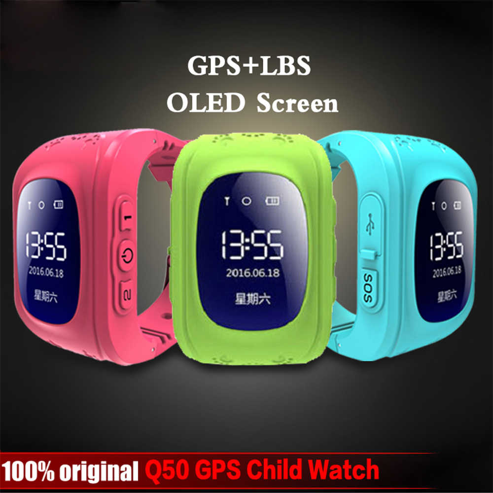 Anti Lost Q50 OLED Child GPS Tracker SOS Smart Monitoring Positioning Phone Kids GPS Baby Watch Compatible IOS & Android