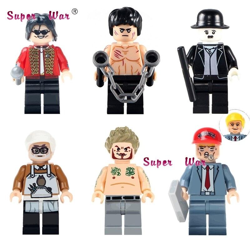 1PCS Bruce Lee Charlie Chaplin Donald Trump  Miyazaki Hayao Beckham Building Blocks Bricks Toys For Children
