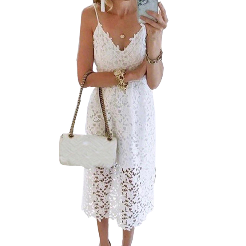 f6746924fa93 Women Summer Lace Dresses Femme Sexy V-neck Spaghetti Strap Backless Midi  Dress Girls Cut Out A-line White Party Sundress GV870
