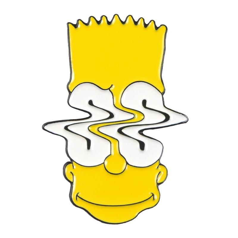 Булавки Симпсоны пончик забавные дизайнерские броши значки Юмор мультфильм рюкзак с эмалевыми вставками булавки для любителей аниме подарки ювелирные изделия оптом - Окраска металла: Style 14