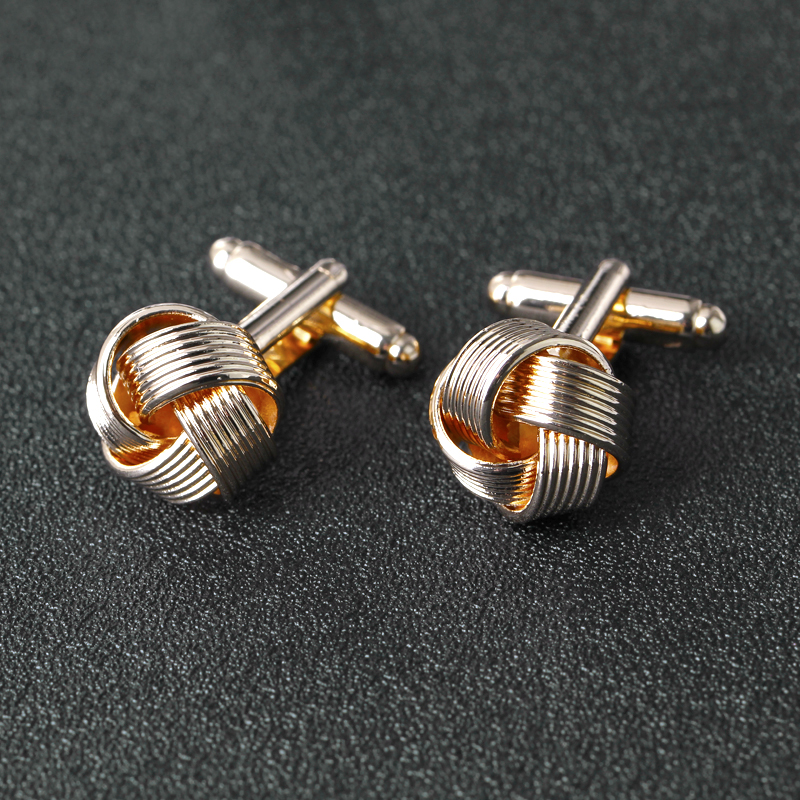 Knot Cufflinks Men Shirt Plated Gold-Color Wedding French Fashion Unique Business