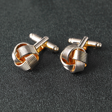 Knot Cufflinks for Men Shirt Cufflinks Silver Gold Color Plated Unique Fashion Business Wedding French Cuff Links fashion silver plated 26 english letters metal cufflinks h cuff links