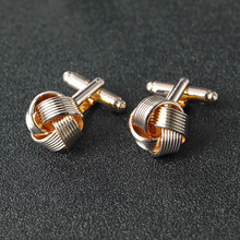 Knot Cufflinks for Men Shirt Cufflinks Silver Gold Color Plated Unique Fashion Business Wedding French Cuff Links(China)