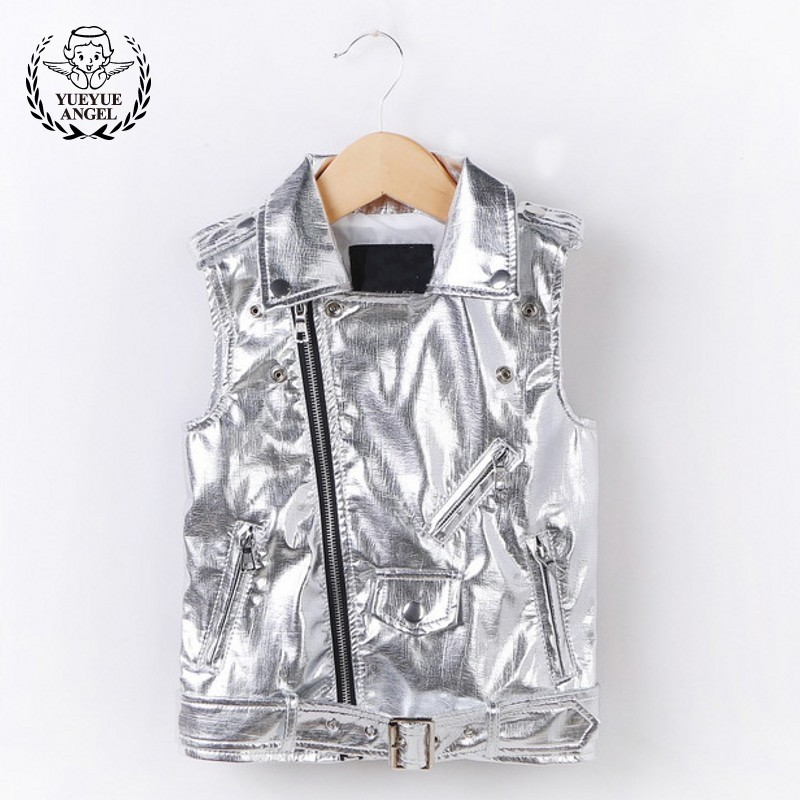 Silver Motorcycle Leather Clothing Kids Sleeveless Autumn Faux Leather Vest Boys Girls Zipper Baby Girl Vest Jacket 3-12 Year цена 2017