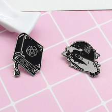 XEDZ Witch Magic Book Magic Ball Brooch Combination Dark Black Series Witch Retro Tie Punk Coat Brooch(China)